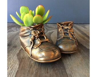 Vintage Copper Baby Shoe - Lace Baby Shoe