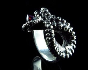 VDay SALE SALE - Bullet Cabochon Ring, Octopus Jewelry, Tentacle Jewelry, Handmade Sterling Silver Jewellery, Kraken