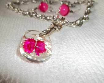 HOT PINK Ring Pendant Lucite, Real Dried Flowers encapsulated inside,set pierced  Earrings, Aluminum Chain ,OOAK