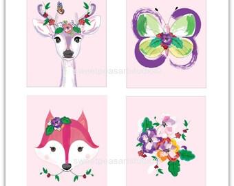 Girls Nursery Decor, Girls Artwork, Girls Room Decor, Unframed 8 x 10 Prints, Girls Wall decor, Girls Floral Bedding Decor