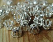 Silver plated brass bead cap 5x4mm, 48 pcs (item ID YWSPXH00813)