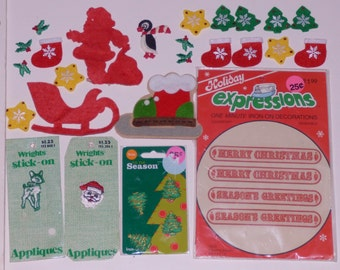 Lot 60+ patches applique assorted Sew or Iron on embroidered sequins Christmas elves Popeye Balloon