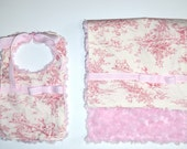 READY TO SHIP Central Park Toile Bib and Lovey Baby Gift Set in Pink Rosebud