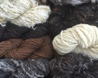 Jumbo natural yarn texture pack, mixed fiber art yarn, 1000 yards handspun lot, customizable yarn lot, instant yarn stash, undyed natural