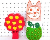 Scandi Apple Vintage 70s Fabric Toy Cat by Jane Foster