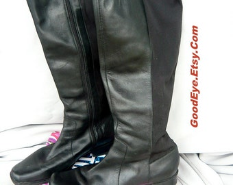 Vintage Flat Leather Riding Boots Size 10 m  Wide STRETCH CALF Andrew Geller  Eur 42 UK 7 .5 Black Slouch Field