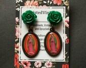 La Virgen de Guadalupe Mexican Virgin Mary Morenita Religious Catholic Cameo Mexico Earrings Green Rose Flower
