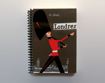 London Notebook, Travel Writing Journal, Back to School, Mid Century, 4x6, Gifts Under 15, Blank Sketchbook, Spiral Bound, A6, Pocket