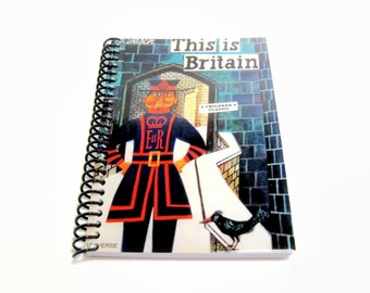 Yeoman Warder Travel Journal, Beefeater Blank Notebook, Writing, Blank Sketchbook, Pocket A6 Draft Spiral Bound, Mid Century, Gifts Under 20