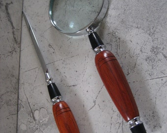 Magnifying Glass and Letter Opener Set (African Coralwood)
