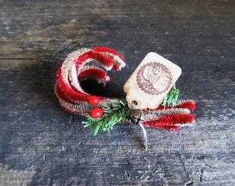 Decorative Primitive Christmas Chenille Candy Cane Bundle
