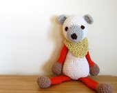 White Teddy Bear, Crochet Bear, Baby Bear, Baby Gift, Newborn Gift, Plush Teddy Bear, Stuffed Animal Bear, Red White Bear