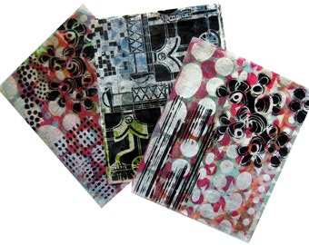Original Handmade Gelli Print Collage Artist Papers for Mixed Media and Art Journaling #169