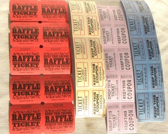 40 Assorted Raffle Coupon two part Tickets Red Blue Yellow Lavender ticket stubs