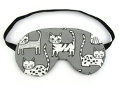 Cats on Grey Sleep Eye Mask, Sleeping Mask, Travel Mask, Sleep Mask,