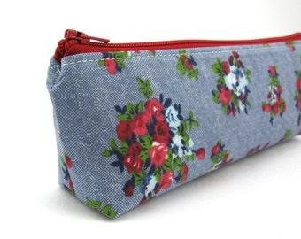 Shabby Chic Flower Pencil Case - Pencil Pouch - Zip Pouch - Small Bag - Zipper Pouch - Planner Pencil Case Organiser
