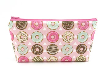 Pink Donut Cosmetic Bag, Zip Pouch, Makeup Bag, Pencil Case, Zipper