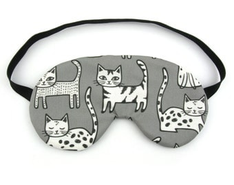 Cats on Grey Sleep Eye Mask, Sleeping Mask, Travel Mask, Sleep Mask,