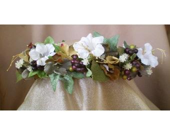 White Trumpet flower floral head wreath bridal crown boho renaissance faerie bride costume bohemian rustic woodland wedding