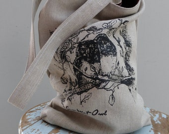Owl Tote - Organic Hemp - Northern Saw Whet Owls - 2 pockets - Hand Printed