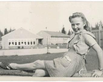vintage photo 1940 Cute Lady Short Ruffle Apron Stripe Shirt Leg up on Fence