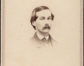 vintage photo 1865 Civil War era CDV Porter & Seymour Kalamazoo Michigan Young Man Curl hair