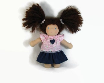 Waldorf doll clothing, doll top and skirt, doll outfit, 10 inch doll clothes