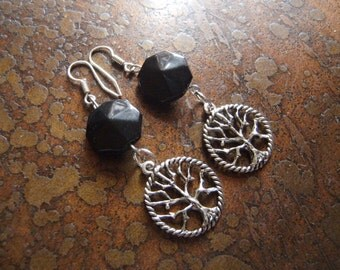 Mother Earth Lucite and Antique Silver Beaded Dangle earrings