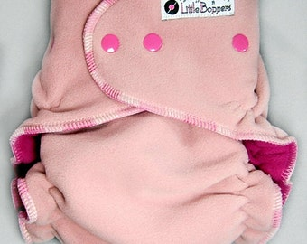 Made to Order Wind Pro Fleece Diaper Cover for Cloth Diapers - Cameo Pink WindPro - You Pick Size and Trim Color of Snaps and Serging Thread