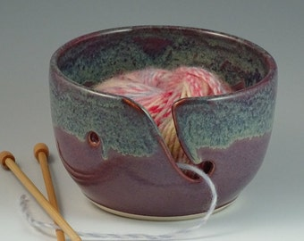 Yarn Bowl in Purple with a rim of Gray Blue - READY TO SHIP