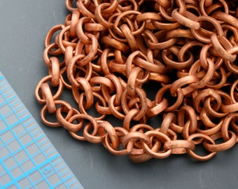 Oxidized copper, base metal, large link chain. basic, maybe copper plate. 8mm x 6mm links. Priced per foot.