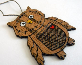 Laser Cut Owl Ornament, Wood Owl Christmas Ornament, Hand Painted Owl Ornament