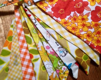 New and Vintage Fabric -  Bunting Flags Banner in YELLOW and ORANGE