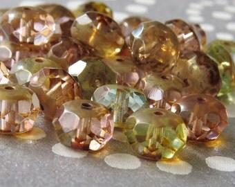 Pastel Mix Transparent Czech Glass Picasso Bead Faceted 12x8mm Rondelle : 12 pc picasso Mix Rondelle