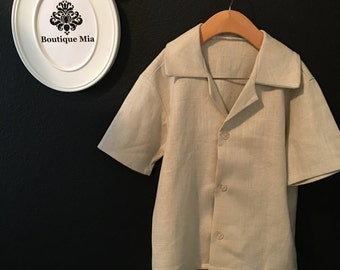 Will fit Size 4T to 6 yr - READY to MAIL - Boy Heavy Weight Linen/ Cotton Shirt - by Boutique Mia and More