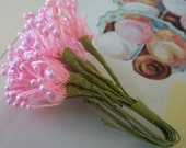 Vintage Millinery / Floral Pips-Peps / Pearlized Pink / Stamens / Bunch of Twelve / Flower Centers