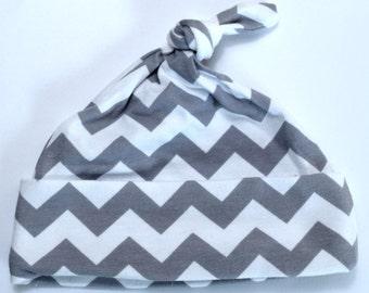 Grey and White Chevron Newborn Baby Hat Beanie