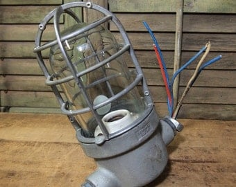 Crouse-Hinds Lamp industrial metal and glass light and trouble cage Urban loft hardware for restoration Vintage