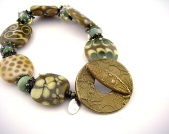 Comfortable lampwork Glass Bead Bracelet in sage, toffee, cream