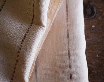 STRIPE LINEN FABRIC - cream / mid weight linen fabric / european fabric