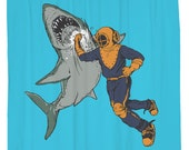 Shark Punch, Diver, Shower Curtain, Printed in USA