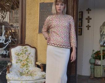 Fall sale 1960s knit set  1960s dress set maxi dress size medium Vintagedress ivory wool