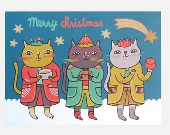 Three Wise Cats - Greeting Card