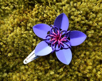 Small Scalemaille Flower Barrette Anodized Aluminum Purple and Pink