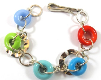 Lampwork Bracelet, Lampwork circles bracelet, sterling silver SRA