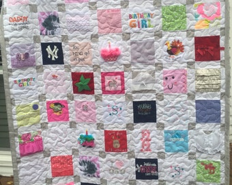 "BABY CLOTHES Quilt Heirloom Memory Quilt Custom Order 50"" x 66"" - Using Your Baby Clothes"