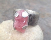 30% OFF - Raw Rhodochrosite Sterling Silver Wide Band Ring - bold ring, raw stone ring, statement ring, wide band ring, pink stone ring US S