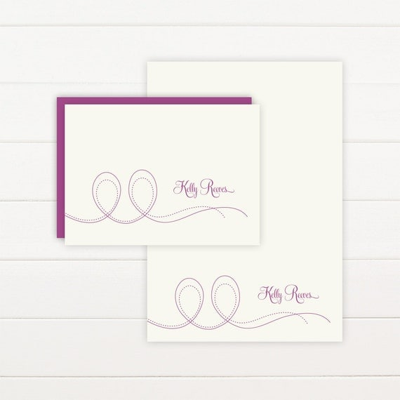 PIROUETTE Personalized Stationery + Notepad Set, Personalized Notepad and Personalized Stationary