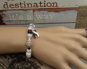 BW-4 Ehlers Danlos Jewelry EDS Awareness CVID Spoonie Jewelry Zebra Awareness Bracelet Endocrine Cancer Rare Disease Beaded Bracelet