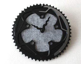 Bicycle Gear Clock - Wool Gray | Bike Clock | Wall Clock | Recycled Bike Parts Clock